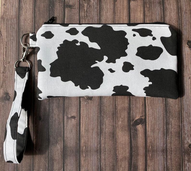 Cow print zipper pouch
