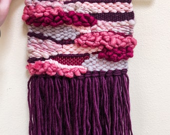 """Floral Collection // """"Dahlia"""" Maroon, Pink, and Purple Tapestry Weaving Woven Wall Art"""