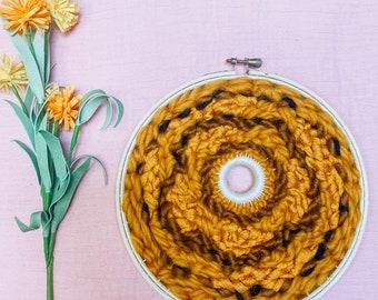 "Floral Collection // ""Sunflower"" Mustard Circle Weaving Woven Wall Art"