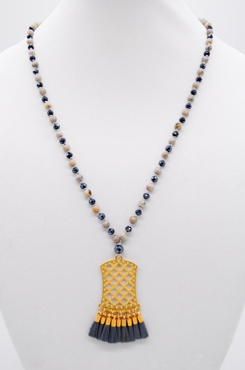Natural 6mm Gemstone Necklace Large Pendant Necklace Mala Style Necklace Tassel Pendant Necklace Grey Feldspar Long Necklace