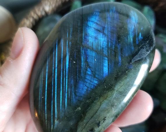 Flashy Labradorite - Pink Your Stone - Bright Blue Flash - Large Labradorite Palm Stone