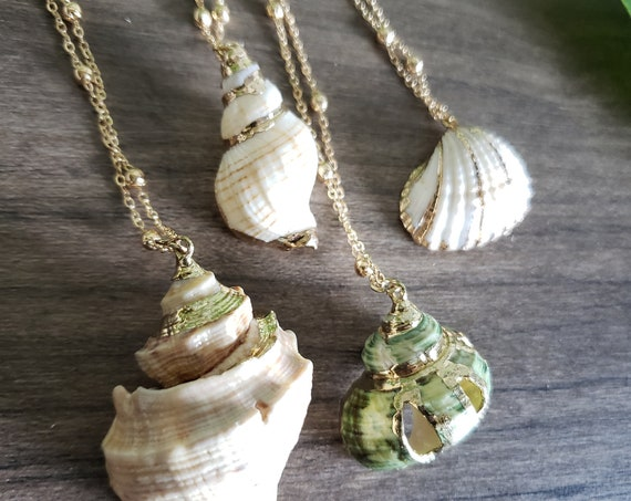 Gold Plated Sea Shell Pendant with Chain - Gold Plated Shell Necklace