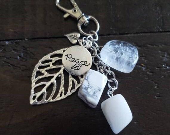 Peace Crystal Keychain - Quartz Jade and Howlite Handmade Keychain