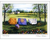 Quilt Themed 6 Note Card Set of Amish Quilt Scenes 3 different prints by Diane Phalen Watercolors