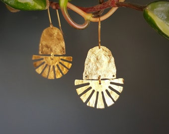 Tempest 'Cardoon' Beaten Brass Statement Earrings, With Free Polishing Cloth, Plastic Free Shop.