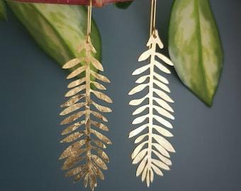 Tempest 'Frond' Beaten Brass Gold Statement Earrings, Handmade in Cornwall, Plastic Free Shop