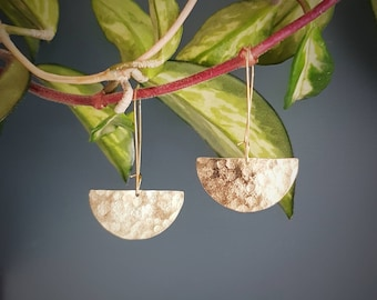 Tempest 'Eclipse' Beaten Brass Gold Statement Earrings, With Free Polishing Cloth, Plastic Free Shop