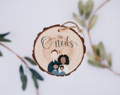 Hand Painted Wood Personalized Family Ornament | Holiday Ornament | Anniversary Gift | Pet Ornament | In Loving Memory Gift | Christmas
