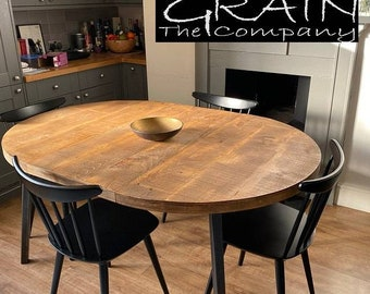 """Extendable round dining table, Rustic Industrial, chunky 2 """" / 45mm thick wood and steel, choice of hairpin or our own boxpins"""