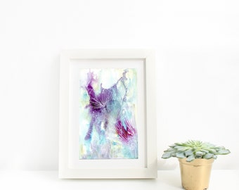 Abstract White, Purple and Turquoise Watercolour Flowers, Modern Floral Wall Art, Botanical Wall Art Print, Nature Art, Botanical Line Art