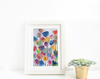 Abstract Watercolour Colourful Flowers Art Print, Floral Painting, Modern Floral Wall Art, Living Room, Bedroom, Kids Room, Wall Art Gift