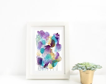 Purple, Turquoise & Yellow Abstract Watercolour Flowers Art Print, Floral Painting, Modern Floral Wall Art, Living Room, Bedroom, Wall Decor