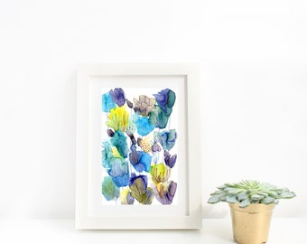 Blue & Yellow Abstract Watercolour Flowers Art Print, Floral Painting, Modern Floral Wall Art, Living Room, Bedroom, Art Gift, Wall Decor