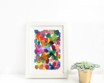 Colourful Abstract Watercolour Print, Modern Watercolour Art, Wall Art Print, Home Decor, Mid Century Boho Art, Gallery Wall, Living Room