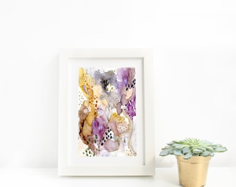Abstract Modern Purple, Gray and Gold Watercolour Art Print, Abstract Artwork, Modern Watercolour, Contemporary Wall Art, Abstract Art Print