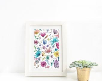 Colourful Abstract Flowers Watercolour Art Print, Floral Painting, Modern Floral Wall Art, Living Room, Bedroom, Girl's Room, Wall Art Gift