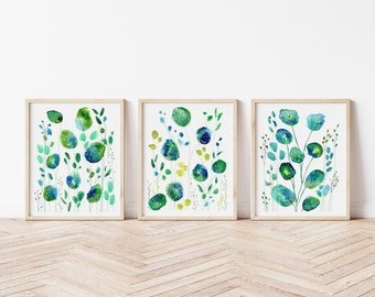 Green Watercolour Leaves, Set of 3 Prints, Botanical Wall Art, Abstract Leaves, Watercolour Triptych Art Set, Gallery Wall Art, Nature Art