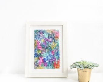 Abstract Colourful Painted Flowers Art Print, Floral Painting, Modern Floral Wall Art, Living Room, Bedroom, Kids Room, Wall Art Gift