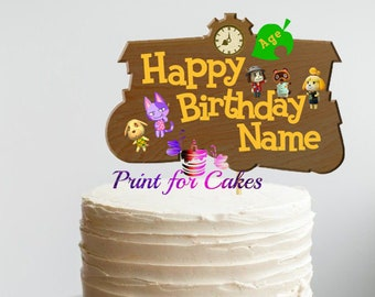 Magnificent Animal Crossing Cake Etsy Personalised Birthday Cards Veneteletsinfo