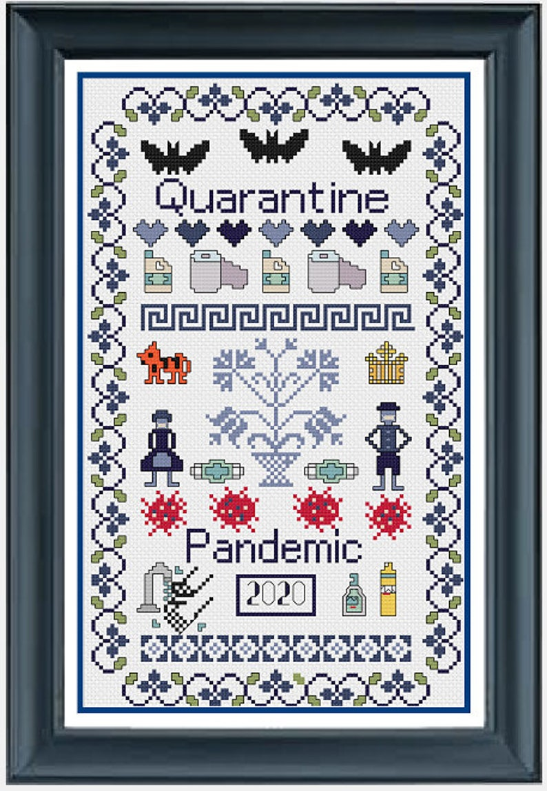 Quarantine Cross-Stitch Pattern Craft Cross Stitch Toilet image 0