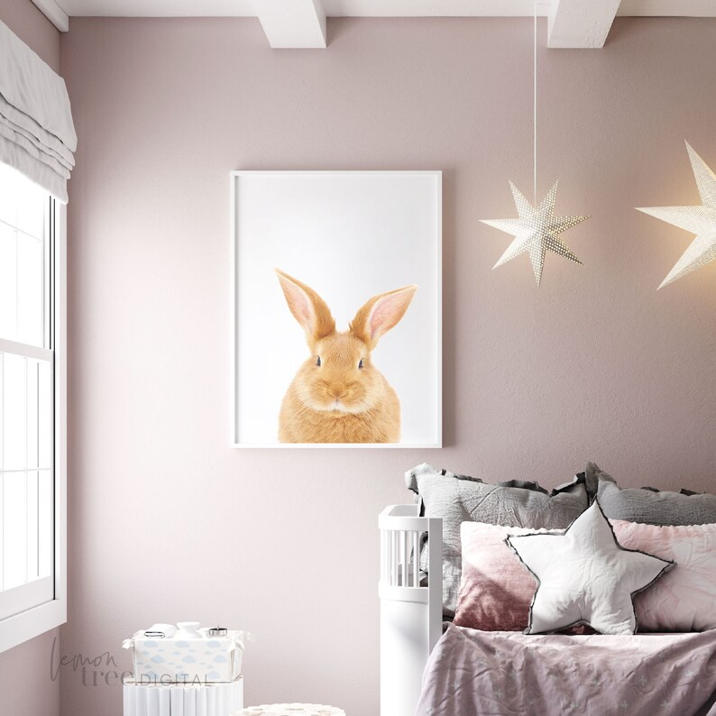 Printable Template Print Instant Download Personalized Beige Bunny Nursery Art Print Baby Girl and Boy Nursery Decor