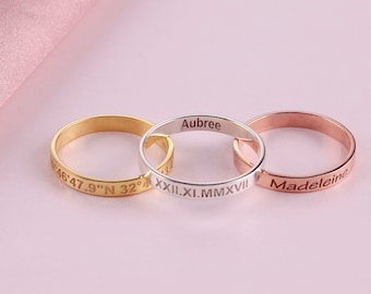 Engraved Rings, Wedding Day Gift, Personalized Rings, Stacking Rings, Gift for Her, Rings for Women, Name Rings, Custom Rings, Wedding Ring
