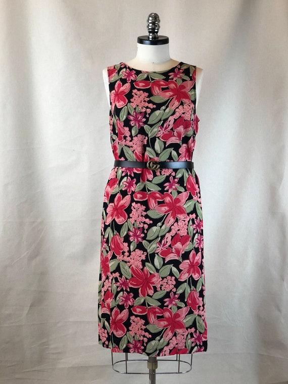 Pink Floral Tank Dress