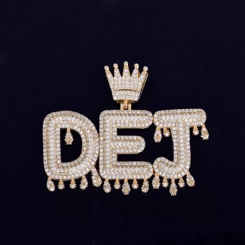 Custom Name Crown Bail Drip Initials Bubble Letters Pendant Necklace Customized Pendent Custom Jewelry Men Women Zircon Hip Hop Jewelry