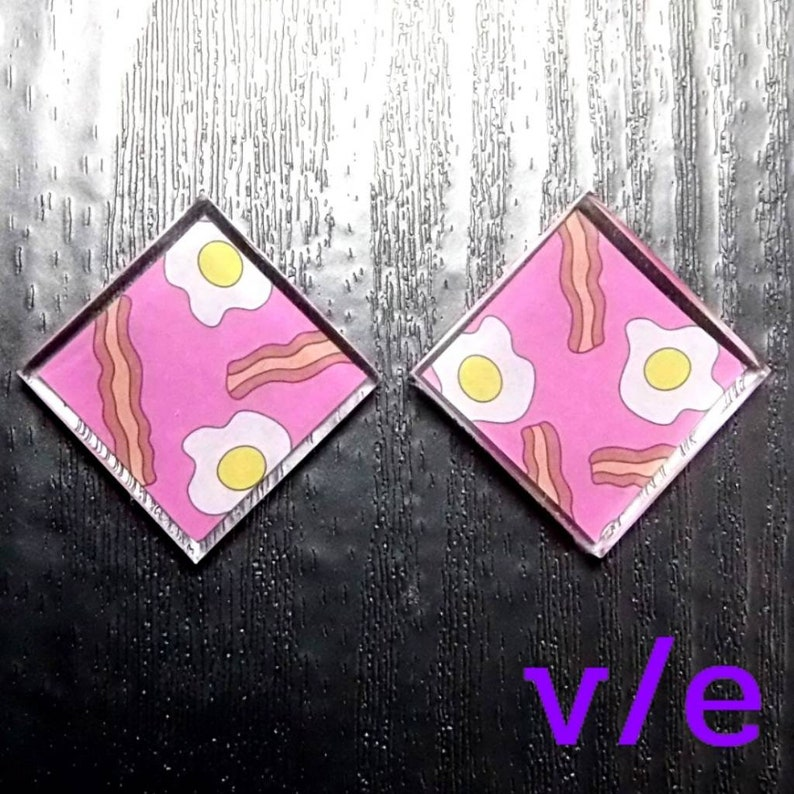 Pink Square Stud Earrings