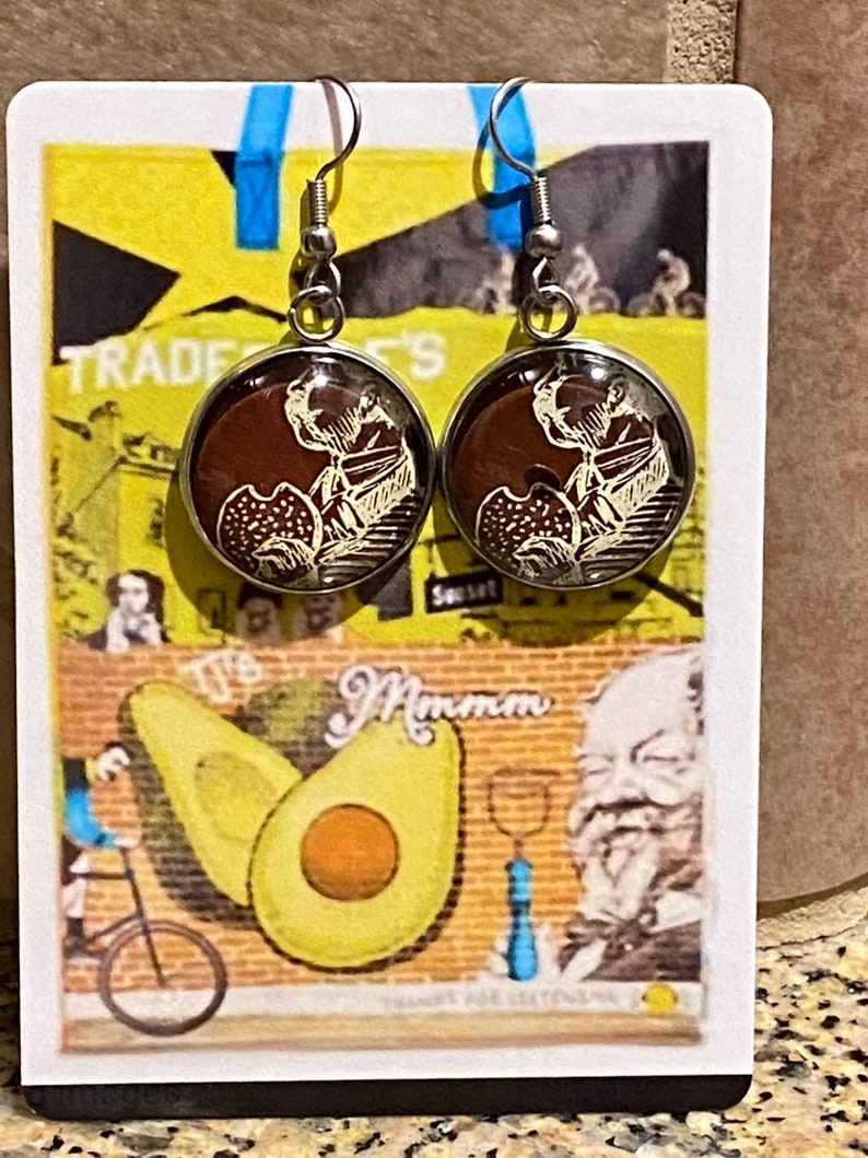 Trader Joe\u2019s inspired recycled repurposed dangle earrings