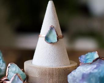 FLUORITE Ring | Raw Crystal | Birthstone Jewelry | Alternative Engagement Ring