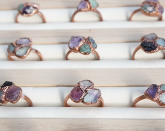 MULTI STONE Cluster Ring | Raw Crystal | Hand Made Jewelry | Birthstone | Promise Ring | Alternative Engagement Ring