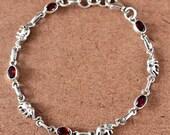 Garnet Bracelet, January Birthstone Bracelet, Bracelets for Women, Mothers Day Gift for Mom, Delicate Bracelet Silver, Garnet Jewelry