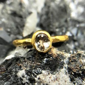 Free Resize Sterling Silver 925K Handmade Natural Change Color Turkish Diaspore Hammered Band Ring