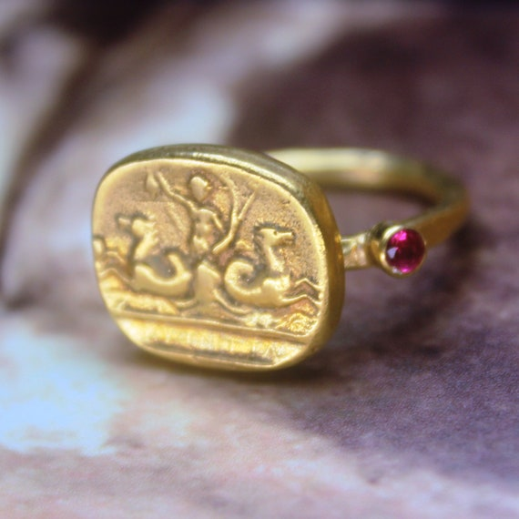Free Resize Intaglio Sterling Silver 925K Gold Over 18K Jewelry Ancient Design Handmade Roman Bronze Replica Coin Hammered Band Ring