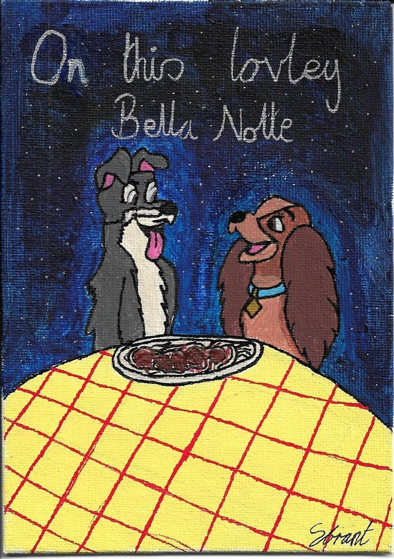 Original Painting Bella Notte Disney S Lady Etsy