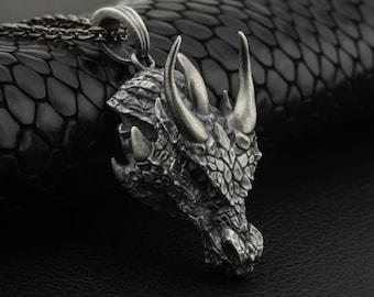 Dragon Oxidized Mens Pendant Necklace - 3D Dragon Pendant - Best Gift Ideas