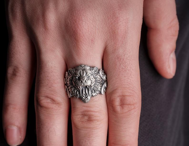 Mens Cat Ring Silver Tiger Ring Husband Gift Ring Mens Tiger Ring Wild Cat Ring Oxidized Tiger Silver Jewelry Solid Silver Tiger Ring