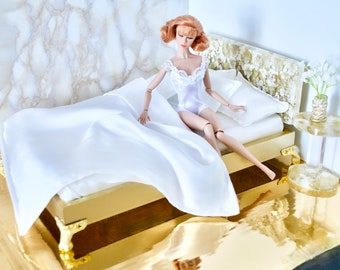 Barbie furniture miniature bed for 1/6 roombox antique wooden dollhouse diorama for YoSD Blythe ooak ball jointed doll fashion royalty