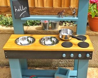 USA Mud Kitchen, Play Kitchen, Chalkboard, Activity Sheet, Colour Options,