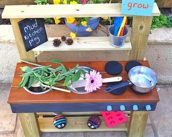 Mud Kitchen, Play Kitchen, Colour Worktop Options, Free Chalkboard