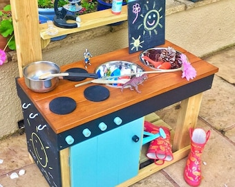 Mud Kitchen with Oven, Play Kitchen, Muddy Recipe, Free Chalkboard, Name and Colour Options