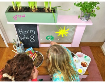 Mud Kitchen, Kids Art Easel, Chalkboard, Free Planter Box & Personalisation Bundle