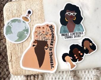 Sticker 4 Pack | Laptop Sticker Bottle Macbook Decal| Vinyl Sticker Pack Waterproof | Black Owned | Affirmation Stickers| Black Girl Sticker