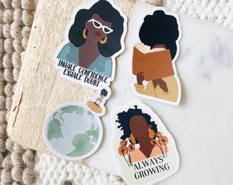 Energy 4 Pack | Laptop Sticker Bottle Macbook Decal| Vinyl Sticker Pack Waterproof | Black Owned Shop| Black Art|Black Girl Sticker