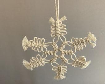 Handmade Macrame Snowflake Christmas Tree Ornament Keepsake Gift