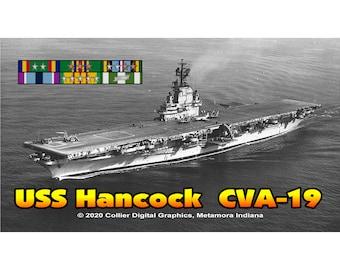 "USS Hancock CVA 19 Magnet. Business card size 3 1/2"" x 2"" fridge magnet.  FREE Shipping! Unique Original Designs."