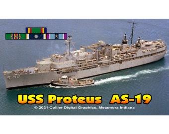 """USS Proteus AS 19 Magnet. Business card size 3 1/2"""" x 2"""" fridge magnet.  FREE Shipping! Unique Original Designs."""