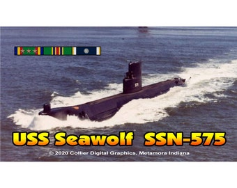 "USS Seawolf SSN 575 Magnet. Business card size 3 1/2"" x 2"" fridge magnet.  FREE Shipping! Unique Original Designs."