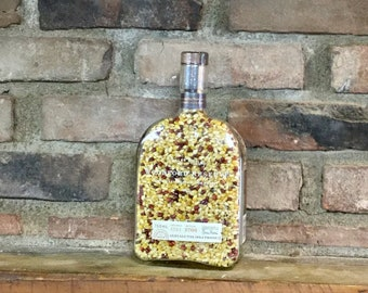 750 ml Autumn Blaze Hull-less Indiana Popcorn in recycled Woodford Reserve bottle. Healthy, low cal; Weddings No Popper